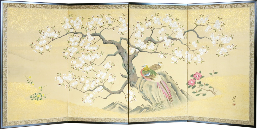 Cherry Blossoms with Golden Pheasant Antique 1960